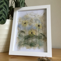Sunflowers on handmade silk paper in large frame