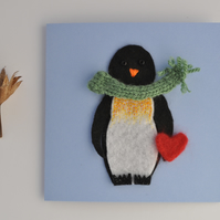 Felt Penguin with heart greeting card