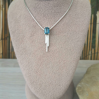 Emerald cut Blue Topaz sterling silver pendant with 16 inch snake chain
