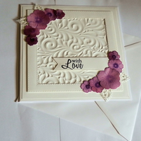 With Love White And Purple Unique Handcrafted Card