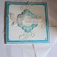Filigree Butterfly Blue And White Handmade Bespoke Birthday Card