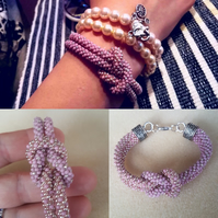 Handmade Bracelet made with crochet. Purple