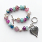 Beaded Gemstone Bracelet Silver Heart Charm Freshwater Pearl Friendship Gift