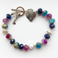 Key to my heart Beaded Gemstone Padlock Love Bracelet Lapis Freshwater Pearl