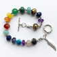 Chakra Wrist Mala Rainbow Spiritual Healing Beaded Feather Bracelet 925 Gift