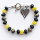 Black & Yellow Onyx Gemstone Boho Beaded Heart Charm Bracelet Gift For Friend