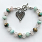 Rose Quartz Amazonite Czech Glass Beaded Gemstone Boho Bracelet Heart Jewelry