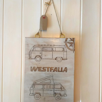 Pyrography wall hanging art; VW  Westfalia camper vans