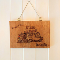 Pyrography artwork on solid oak; 1960s Bedford Dormobile camper van