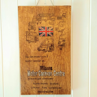 Large pyrography artwork on solid oak; camper vans of the 1960s.