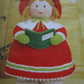 Handmade Knitted Carol Singer Girl In Victorian Style Dress (New, Made To Order)