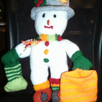 Handmade Knitted Mr Twizzle The Mis-Matched Snowman (New, Made To Order)
