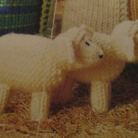 Handmade Knitted 6 X Cream Sheep Part Of The Nativity Set (New, Made To Order)