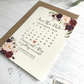 Chalk Save the Date card with Floral arrangement