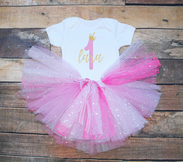 4853329d74f72 Baby Girls First Birthday Tutu Outfit Personali... - Folksy