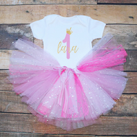 Baby Girls First Birthday Tutu Outfit Personalised Pink & Gold Glitter Print