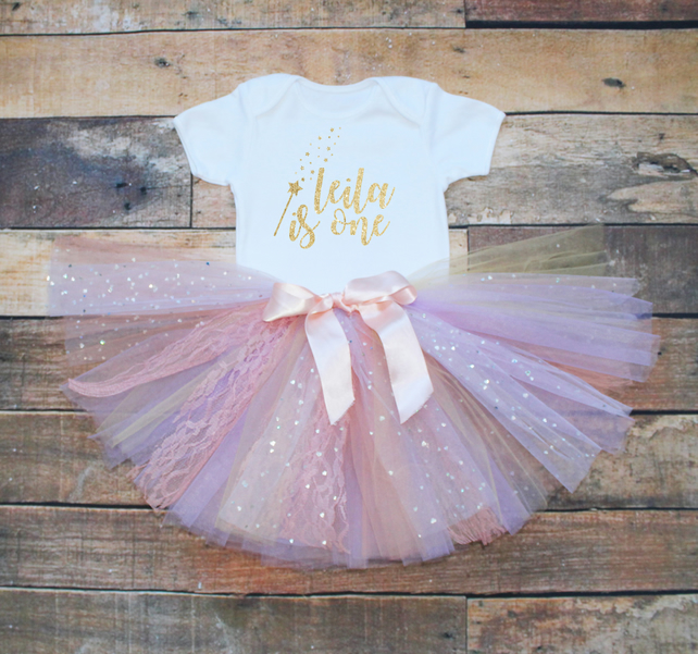 b3d53f025d75 Baby Girls First Birthday Tutu Outfit Personali... - Folksy