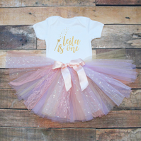 Baby Girls First Birthday Tutu Outfit Personalised Gold Glitter Fairy Wand Print