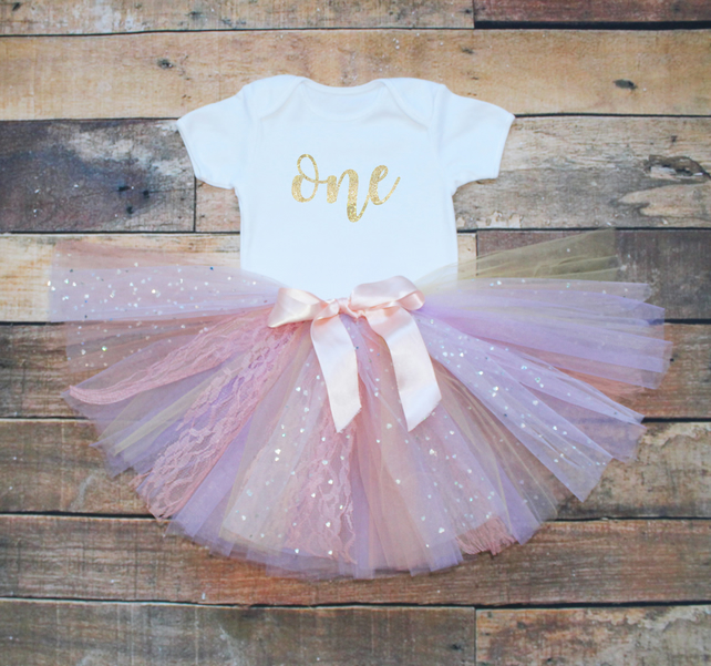 63091e430567a Baby Girls First Birthday Tutu Outfit One Gold ... - Folksy