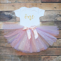 Baby Girls First Birthday Tutu Outfit One Gold Glitter Print