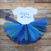 Baby Girls First Birthday Tutu Outfit Blue Tutu Skirt Blue Onederful Print
