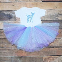 Baby Girls First Birthday Tutu Outfit Deer Print One Bodysuit