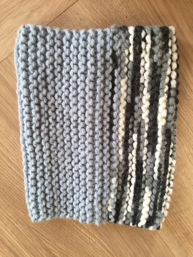 Blue Mix Hand Knitted Snood, Scarf or Buff