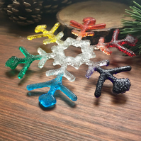 Rainbow christmas tree snowflake decoration