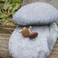 Cornish beach pebble cuff links