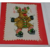 Handmade reindeer cross stitch card