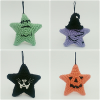 Cute Classic Halloween Monsters - Crochet Star Hanging Decorations