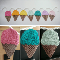 Handmade Multicoloured Ice Cream Cone Nursery Bunting (7 Pennants)