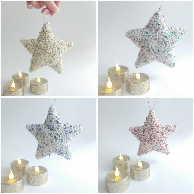 Sparkly Sequin Amigurumi Star Hanging Decoration - Variety of Colours