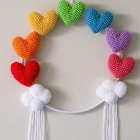 Large rainbow amigurumi heart wall hanging hoop with handmade pompom clouds