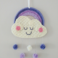 Sleepy cloud rainbow wall hanging hoop with pompom raindrops