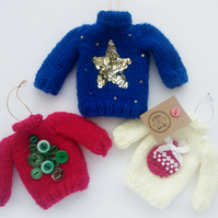 Mini Knitted Christmas Jumper Hanging Decorations