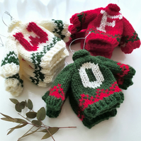 Personalised Mini Knitted Fairisle Jumper Hanging Decoration - Choice of colours