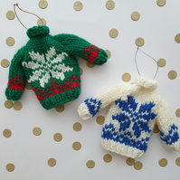 Mini Knitted Fairisle Snowflake Jumper Hanging Decoration - Choice of colours