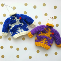 Mini Knitted Leaping Reindeer Jumper Hanging Decoration - Choice of colours