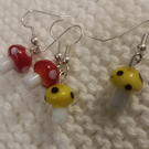 Glass Toadstool on Sterling Silver French Wire Earring