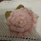 Rose Brooch hand knit with vintage diamante bead stamen
