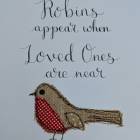 Calligraphy and Appliqué Robin framed original artwork