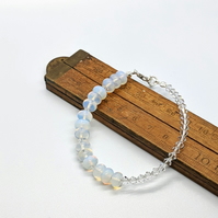 Sterling Silver Moonstone Beaded Bracelet