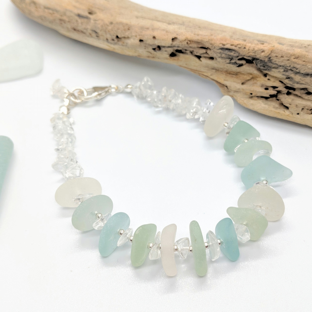 Seaglass and Quartz Bracelet