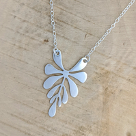 Foliage drop silver necklace