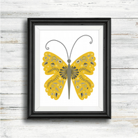 Limited Edition Art Print. Folk Art Butterfly Illustration