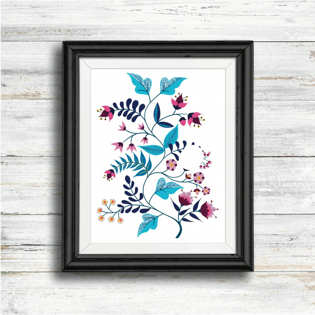 Limited Edition Art Print. Folk Art Flowers A4