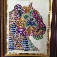 Diamanté tiger in frame