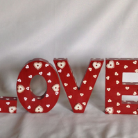 Decorated wooden letters (love)