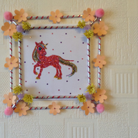 Diamante unicorn with handmade picture frame